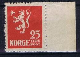 Norway: 1922 Mi Nr 107 MNH/** With Sheet Margin