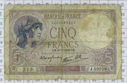 5 Francs Violet Type 1917 Modifié, Ref Fayette 4-3, état TB - 5 F 1917-1940 ''Violet''