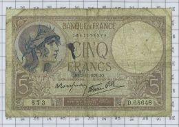 5 Francs Violet Type 1917 Modifié, Ref Fayette 4-14, état TB - 5 F 1917-1940 ''Violet''