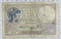 5 Francs Violet Type 1917 Modifié, Ref Fayette 4-18, état B - 1871-1952 Anciens Francs Circulés Au XXème