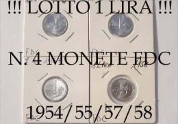 !!! N. 4 MONETE FDC DA 1 LIRA 1954/55/57/58 !!! TUTTE FDC/UNC - 1946-… : República