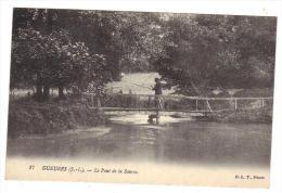 Gueures Le Pont De La Source Cpa 76 Animée D L T PHoto Pêcheur Seine Maritime Normandie Rivière - France