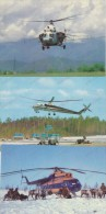 AEROFLOT 3 HELICOPTERS, MI 2, MI 10K, MI 8, 3 Vintage Old Photo PostcardS - Elicotteri