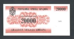 KROATIEN - CROATIA - KRAJINA,  20,000 Dinara 1991 UNC *P-RA2  , POSSIBLE FAKE? - Kroatië