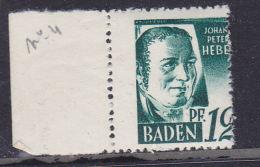 BADE N° 4 12F VERT JOHANN PETER HEBEL PIQUAGE A CHEVAL  NEUF SANS CHARNIERE - Zone Française