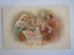 Vrolijk Kerstfeest Noël Jezus Maria Jozef Kribbe Os Ezel Ane Gelopen 1954 Uitg. België - Weihnachten