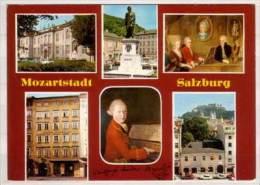 Mozartstadt Salzburg , Mehrbildkarte , Mozarteum - Mozart Denkmal - Familienbild - Geburtshaus - Mozart Bildnis - - Salzburg Stadt