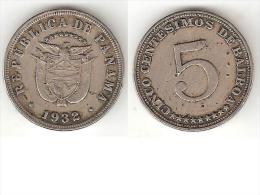 *panama  5 Centesimos  1932  Km 9 - Panama