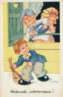 """ENFANTS - LITTLE GIRL - MAEDCHEN  - Jolie Carte Fantaisie Enfants """"Sérénade Interrompue"""" Signée GOUGEON - Dessins D'enfants"""