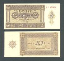 CROATIA - CROACIA, Top UNC!  20 Kuna 1944 * WORLD WAR II * USTASA * NDH * VERY RARE BANKNOTE ! - Kroatië