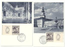 CSSR 20.VI.1948 2x Mi 544 Zf Yv 472 FDC Auf Sonderpostkarten Kremsier Kromeriz - FDC
