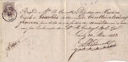 N°35 Sur Reçu - Belle Oblitération De GAND De 1882 - Oblitération D´arrivée De GOSSELIES Au Verso - 1883 Leopold II