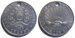France Bourgogne Chagny Médaille Commémorative Des Compagnies Et Sociétés D´assurance Al 30 Mm Congrès Mutualiste 1939 - Professionnels / De Société