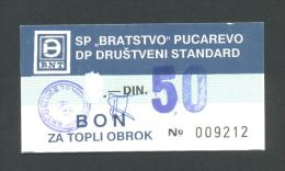BOSNIA - BOSNIEN UND HERZEGOWINA:  50 Dinara ND(1980th) AUNC  , SP ´´BRATSTVO´´ PUCAREVO * VERY RARE !! - Bosnien-Herzegowina