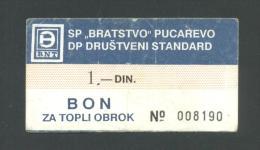 BOSNIA - BOSNIEN UND HERZEGOWINA:  1 Dinar ND(1980th) VF+  , SP ´´BRATSTVO´´ PUCAREVO * VERY RARE !! - Bosnien-Herzegowina