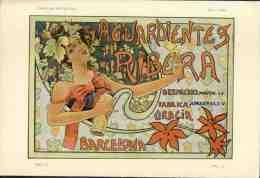 Revue Art Nouveau PLUMA Y LAPIZ, 1902 Num. 108. Au Dos, Repro Affiche AGUARDIENTES RIBERA, Barcelona. R.Costa (102447) - Revues & Journaux