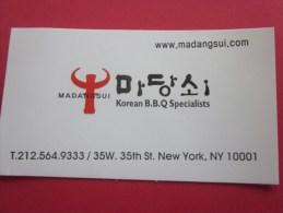 BBQ New York USA Carte De Visite Publicitaire Restaurant Barbecue Spécialité Spécialiste Coréen Coréa  Corée - Visiting Cards