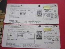2 Billets Ticket D'avion British Airways>> Londres Marseille BOARDING Pass Embarquement London - Billets D'embarquement D'avion