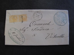 """ITALIA Regno-1866- """"T 16 Torino"""" C. 10 Coppia CAPRAROLA>VETRALLA (descrizione) - 1861-78 Vittorio Emanuele II"""