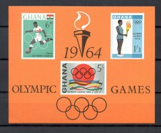 GHANA BLOC N° 10 NEUF SANS CHARNIERE COTE 3.25€ JEUX OLYMPIQUES TOKYO  FOOTBALL - Ghana (1957-...)