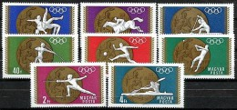 HUNGARY 1969 SUMMER OLYMPICS MEDALS SC #1950-57 MNH FENCING, WRESTLING, ROWING, FOOTBALL - Sommer 1968: Mexico