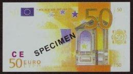 "Test Note ""CE Rot"" Billet Scolaire, 50 EUROS, Training, 90 % EURO Size, RRR, UNC - EURO"