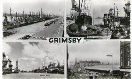 REAL PHOTO POSTCARD GRIMSBY MULTI-VIEW SHOWING DOCKS, SHIPS, FISHING BOATS - Non Classificati