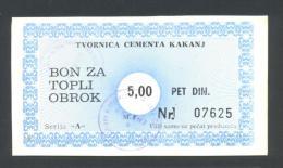 BOSNIA - BOSNIEN UND HERZEGOWINA:  KAKANJ, Cement Factory, 5 Dinara ND(1992) AUNC *Rare Local Note. - Bosnien-Herzegowina