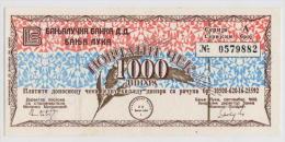 BOSNIA: 1000 Dinara1992 AUNC * MILITARY CHECK - BANJA LUKA * NOT CANCELLED - Bosnia And Herzegovina