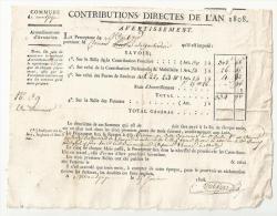 CONTRIBUTIONS DIRECTES De L´AN 1808 ( EMPIRE) à MONTJOIE ( 50) Arrondissement D´AVRANCHES.. CLOUARD Pierre - Documents Historiques