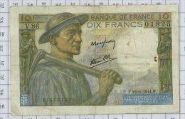 10 Francs Mineur, Ref Fayette 8-12, état TTB - 10 F 1941-1949 ''Mineur''