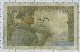 10 Francs Mineur, Ref Fayette 8-20, état TB - 10 F 1941-1949 ''Mineur''
