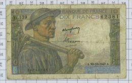 10 Francs Mineur, Ref Fayette 8-18, état B-TB - 10 F 1941-1949 ''Mineur''