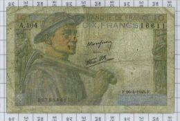 10 Francs Mineur, Ref Fayette 8-14, état B - 10 F 1941-1949 ''Mineur''
