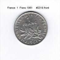 FRANCE   1  FRANC  1961  (KM # 925.1) - France