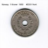 NORWAY    1  KRONER  1950  (KM # 385) - Norway
