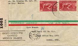 20c Eagle Man (2) 1944 Airmail To Havana, Cuba.  Cuba Censor.  Crease And Cancel Unreadable. - Mexico
