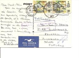 Papillons ( Carte Postale De Penang De 1974 Avec Timbres En Paire Vers La Grande-Bretagne ; Non Distribuée Et Renvoyée à - Butterflies
