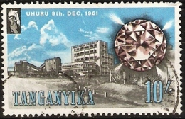 TANGANYIKA  - 1961 DIAMOND MINE 10/- (10s) USED  SG 118 - Tansania (1964-...)