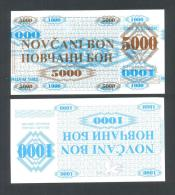 BOSNIA - BOSNIA ERZEGOVINA:  5000 Dinara On 1000 Dinara 1992 UNC  *MACULATURA - SPOILAGE - MACKLE -  ERROR* - Bosnia And Herzegovina