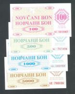 BOSNIA - BOSNIA ERZEGOVINA, 100, 500,1000 & 5000 Dinara 1992 UNC- *Handstamp: FILIJALA SARAJEVO ... On Back. - Bosnie-Herzegovine