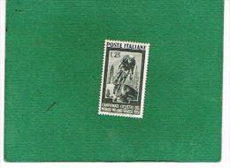 ITALIA REPUBBLICA -  UNIF. 669 - 1951 MONDIALI DI CICLISMO    - NUOVI ** (MINT) - 6. 1946-.. República