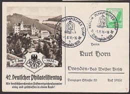 DR Olympiade 1936 Berlin Olympisches Dorf Auf GA PP142 C3/02 Mit Privatem Eindruck, Auch Rs. Burg Lauenstein - Germany