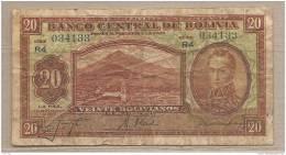 Bolivia - Banconota Circolata Da 20 Bolivanos - 1928 - Bolivia