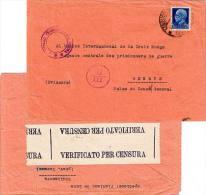 1.25L Emmanuel III C1944 Teramo, Arrivi - Partenze To International Red Cross Geneva, Switzerland.  Italy Censor. ... - 4. 1944-45 Repubblica Sociale