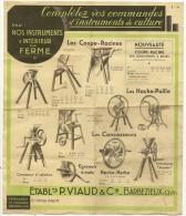 TARIF Illustré Instruments Intérieur Ferme 1936 P. VIAUD & Cie Barbezieux (Charente) - France