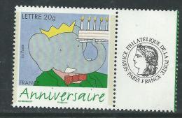 France T.P. Personnalisés N° 3927Ac XX Timbre Pour Anniversaire : Babar Avec Vignette Cérès Ss Ch.,TB - Personalized Stamps