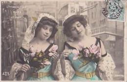 """CPA Fantaisie ARTISTE Mlles MERCEDES Et FLORA """"CIGALE"""" 1906 - Femmes"""