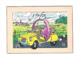 Carte Faite Main Voiture 2CV Citroen Jaune écouteur Radio AMATEUR CIBIE Style QSL Anatol 1989 - Turismo