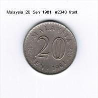 MALAYSIA    20  SEN  1981  (KM # 4) - Malaysie